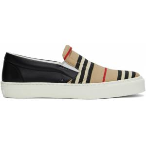 Burberry Beige & Black Icon Stripe Thompson Sneakers  - ARCHIVE BEI - Size: 44.5