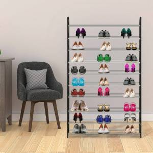 50-Pair Shoe Rack Storage Organizer 10-Tier Portable Wardrobe Tower