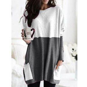 Women Long Sleeve Casual Pocket T-Shirt Loose Plus Size Top Blouse