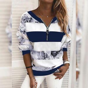 DailySale Women's Blouse Shirt Striped Color Block Long Sleeve Print V Neck Tops
