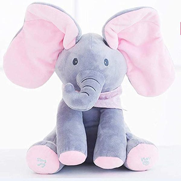 Electronic Talking Singing Blinking Eyes Elephant Plush Toy