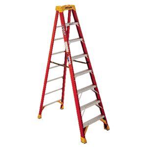 Werner 8 ft. H X 26.88 in. W Fiberglass Step Ladder Type IA 300 lb. cap.