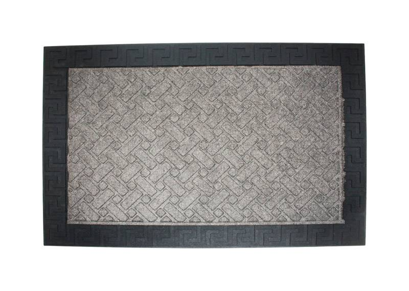 J & M Home Fashions 24 in. L X 36 in. W Gray Indoor Polypropylene Nonslip Doormat