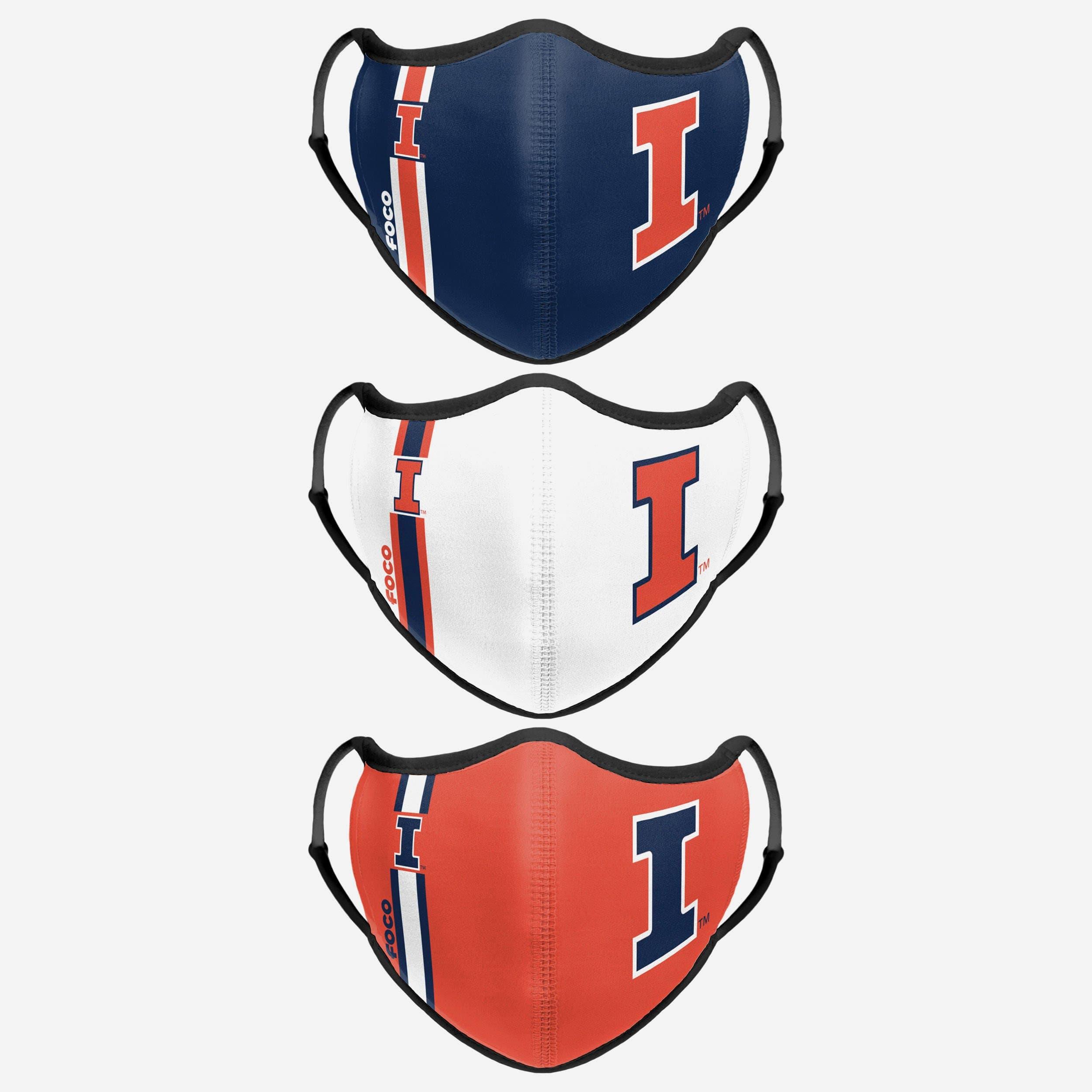 FOCO Illinois Fighting Illini Sport 3 Pack Face Cover