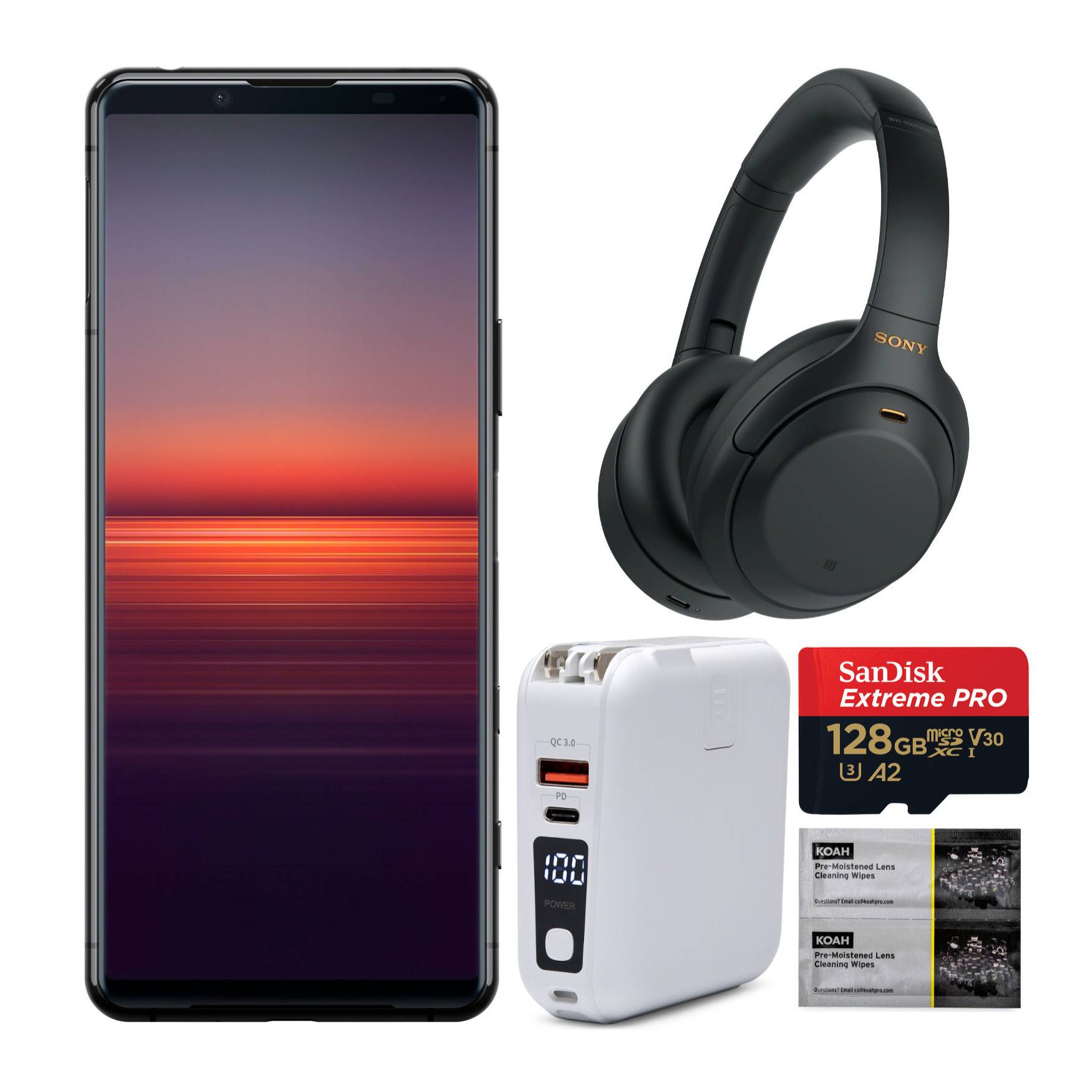 Xperia 5 II 128GB Unlocked Smartphone Bundle with WH-1000XM4 Headphones, Power Bank, and Accessory Bundle in Black