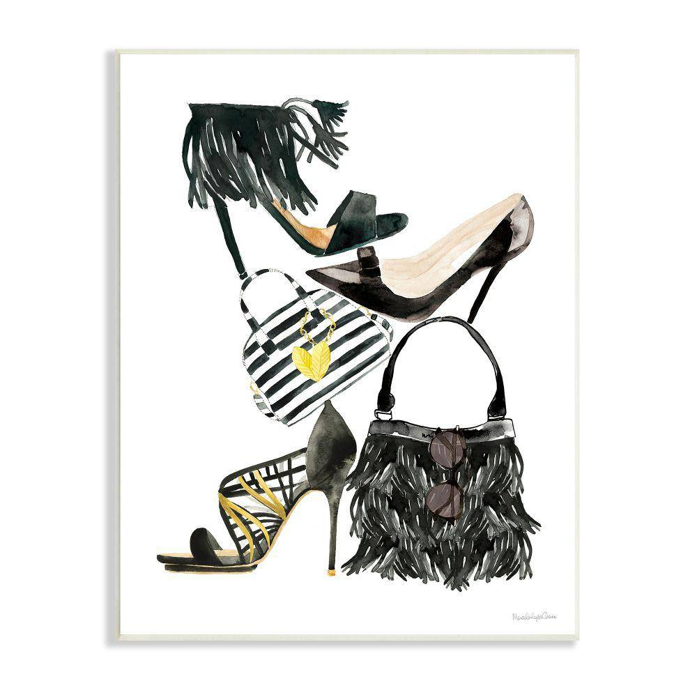 """The Stupell Home Decor Collection """"Fashion Accessory Stack Shoes and Purse"""" by Mercedes Lopez Charro Unframed Abstract Wood Wall Art Print 10 in. x 15 in., Black"""