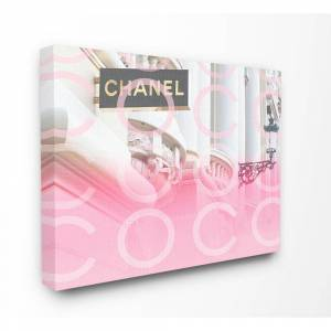 """The Stupell Home Decor Collection 30 in. x 40 in. """"Pink Ombre C and O Typography High Fashion Storefront"""" by Daphne Polselli Canvas Wall Art, Multi-Colored"""