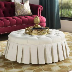 Taylor Jennifer Taylor Luciana Antique White Tufted Footstool Cocktail Ottoman with Skirt, Antique White Polyester