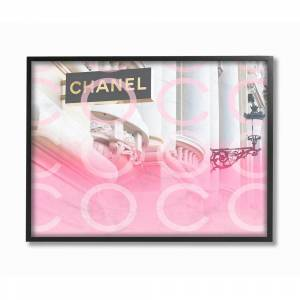 """The Stupell Home Decor Collection 24 in. x 30 in. """"Pink Ombre C and O Typography High Fashion Storefront"""" by Daphne Polselli Framed Wall Art, Multi-color"""