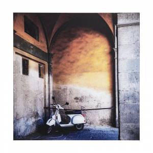 """Yosemite Home Decor Tempered Glass Series """"Le Velo I"""" by Veronica Olson Unframed Travel Photography Wall Art 22 in. x 22 in., Beige/ White/ Black"""