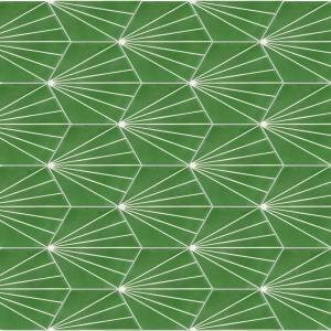 Villa Lagoon Tile Spark C Monte Verde 8 in. x 9 in. Cement Handmade Floor and Wall Tile (Box of 16 / 5.926 sq. ft.), Green/Matte