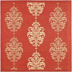SAFAVIEH Courtyard Red/Natural 8 ft. x 8 ft. Square Floral Indoor/Outdoor Area Rug