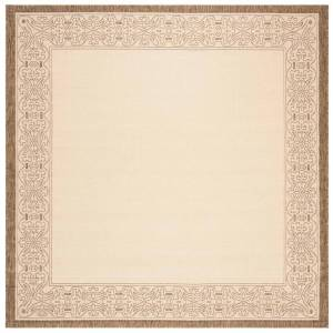 SAFAVIEH Courtyard Natural/Brown 8 ft. x 8 ft. Square Border Indoor/Outdoor Area Rug