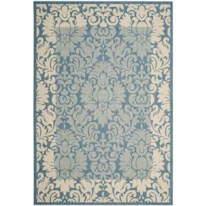 SAFAVIEH Courtyard Blue/Natural 7 ft. x 10 ft. Floral Indoor/Outdoor Area Rug