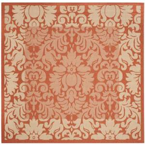 SAFAVIEH Courtyard Terracotta/Natural 8 ft. x 8 ft. Square Floral Indoor/Outdoor Area Rug