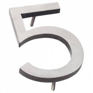 Montague Metal Products 16 in. Satin Nickel/Black 2-Tone Aluminum Floating or Flat Modern House Number 5