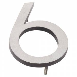 Montague Metal Products 16 in. Satin Nickel/Black 2-Tone Aluminum Floating or Flat Modern House Number 6