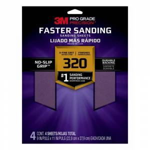 3M Pro Grade Precision 9 in. x 11 in. 320-Grit X-Fine Faster Sanding Sheets (Case of 20, 4-Packs)