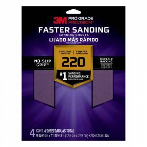 3M Pro Grade Precision 9 in. x 11 in. 220-Grit Fine Faster Sanding Sheets (Case of 20, 4-Packs)