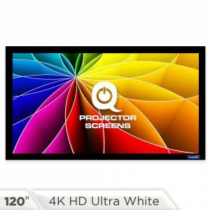 QualGear Fixed Frame Projector Screen - 16:9, 120 in. 4K HD Ultra White 1.2 Gain