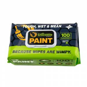 CROCODILE CLOTH Professional Paint Pre-Moistened Heavy-Duty Wet Cloths Cleaning Wipes (100 Per Pack), White (Wipe Color)