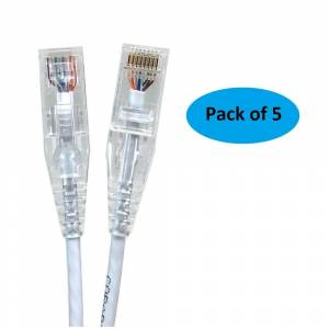 Micro Connectors, Inc 14 ft. 28AWG Ultra Slim CAT6 Patch Cables, White (5 per Pack)
