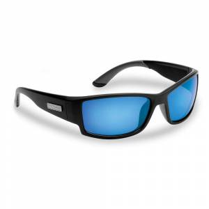 Flying Fisherman Razor Polarized Sunglasses in Black Frame with Smoke in Blue Mirror Lens