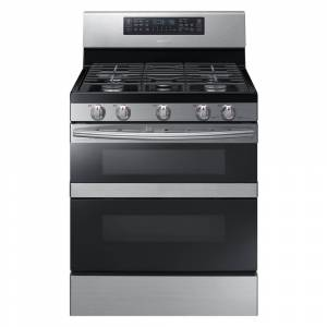Samsung 30 in. 5.8 cu. ft. Dual Door Gas Range Double Oven with Self-Cleaning and Dual Convection Oven in Stainless Steel, Silver