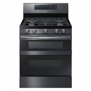 Samsung 30 in. 5.8 cu. ft. Gas Range with Self-Cleaning and Dual Convection in Fingerprint Resistant Black Stainless, Fingerprint Resistant Black Stainless Steel