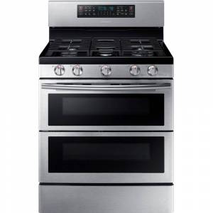 Samsung 30 in. 5.8 cu. ft. Double Oven Gas Range with Self-Cleaning Convection Oven in Stainless, Silver