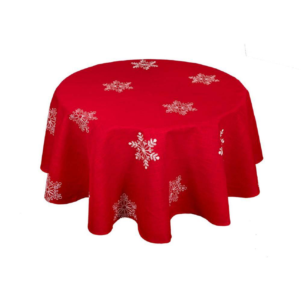 Xia Home Fashions 70 in. Snowy Noel Embroidered Snowflake Christmas Round Tablecloth in Red and White