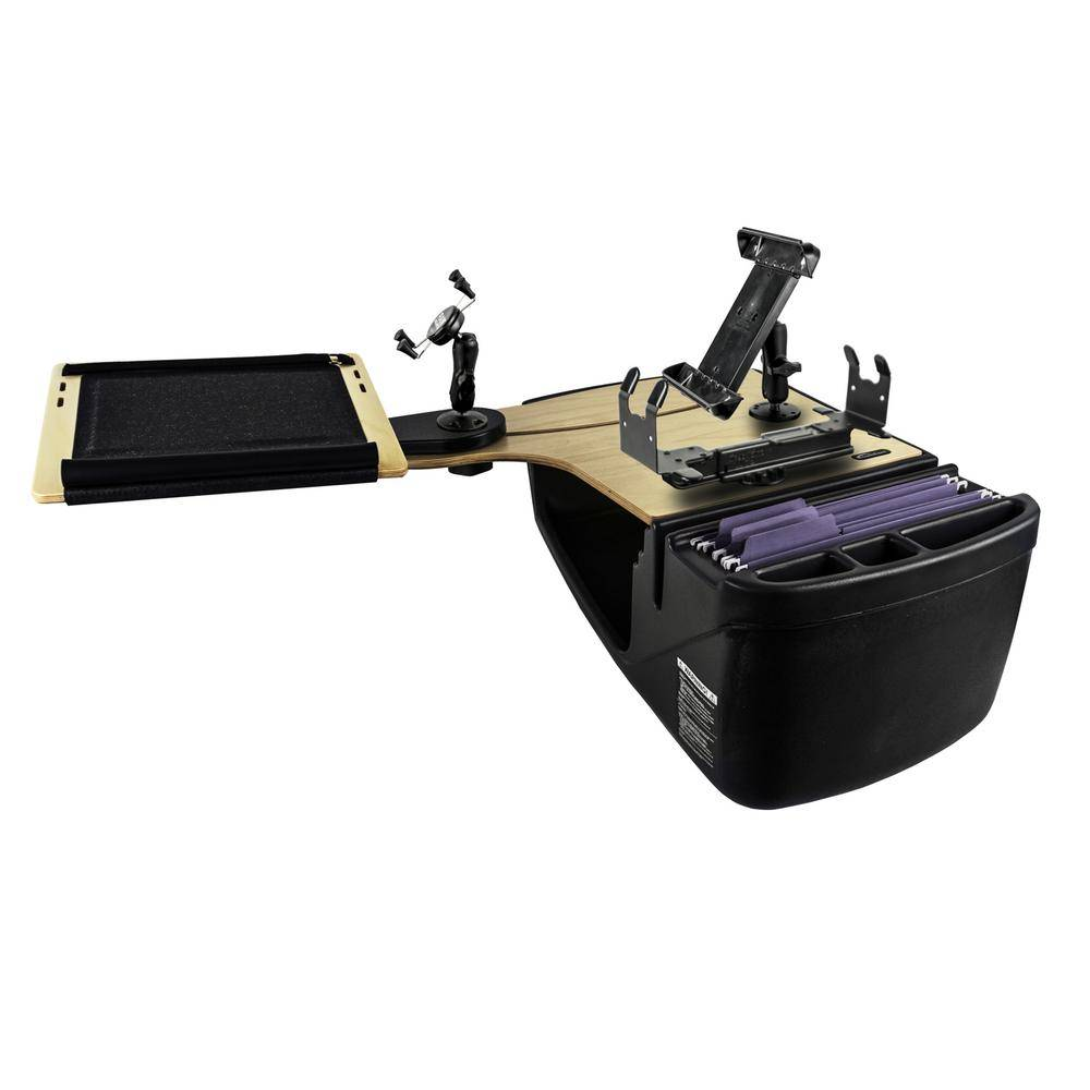 AutoExec Reach Desk Back Seat Elite with Built-in Power Inverter, X-Grip Phone Mount, Tablet Mount and Printer Stand