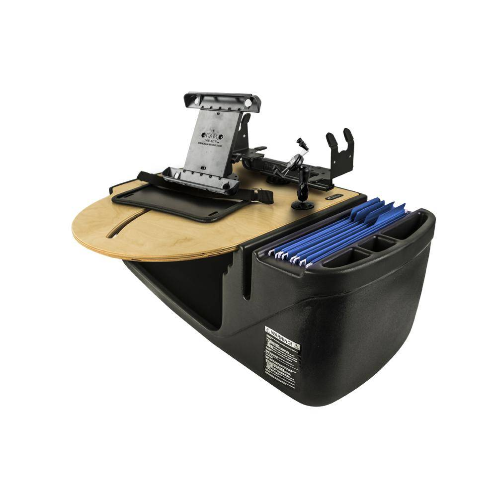 AutoExec Roadmaster Car Desk with Phone Mount, Tablet Mount and Printer Stand Blonde
