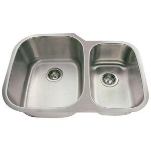 Polaris Sinks Undermount Stainless Steel 29 in. Double Bowl Kitchen Sink, Silver