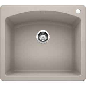 DIAMOND Dual Mount Concrete Gray Granite Composite 25 in. 1-Hole Single Bowl Kitchen Sink