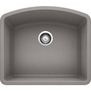 DIAMOND Undermount Granite Composite 24 in. Single Bowl Kitchen Sink in Metallic Gray