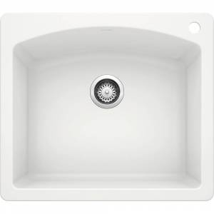 DIAMOND Dual Mount Granite Composite 25 in. 1-Hole Single Bowl Kitchen Sink in White