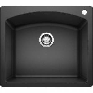DIAMOND Dual Mount Granite Composite 25 in. 1-Hole Single Bowl Kitchen Sink in Anthracite, Grey