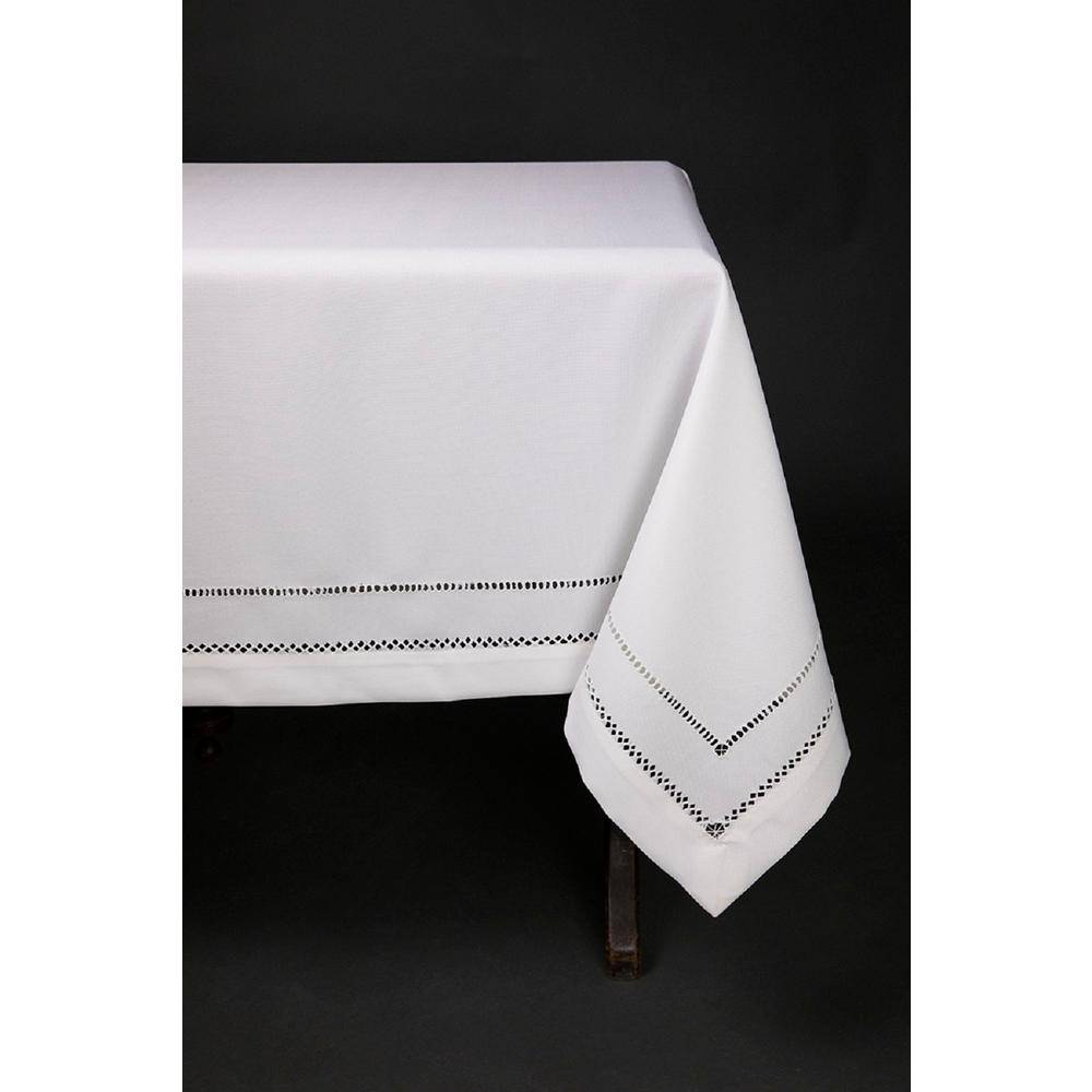 Xia Home Fashions 65 in. x 140 in. White Double Hemstitch Easy Care Tablecloth