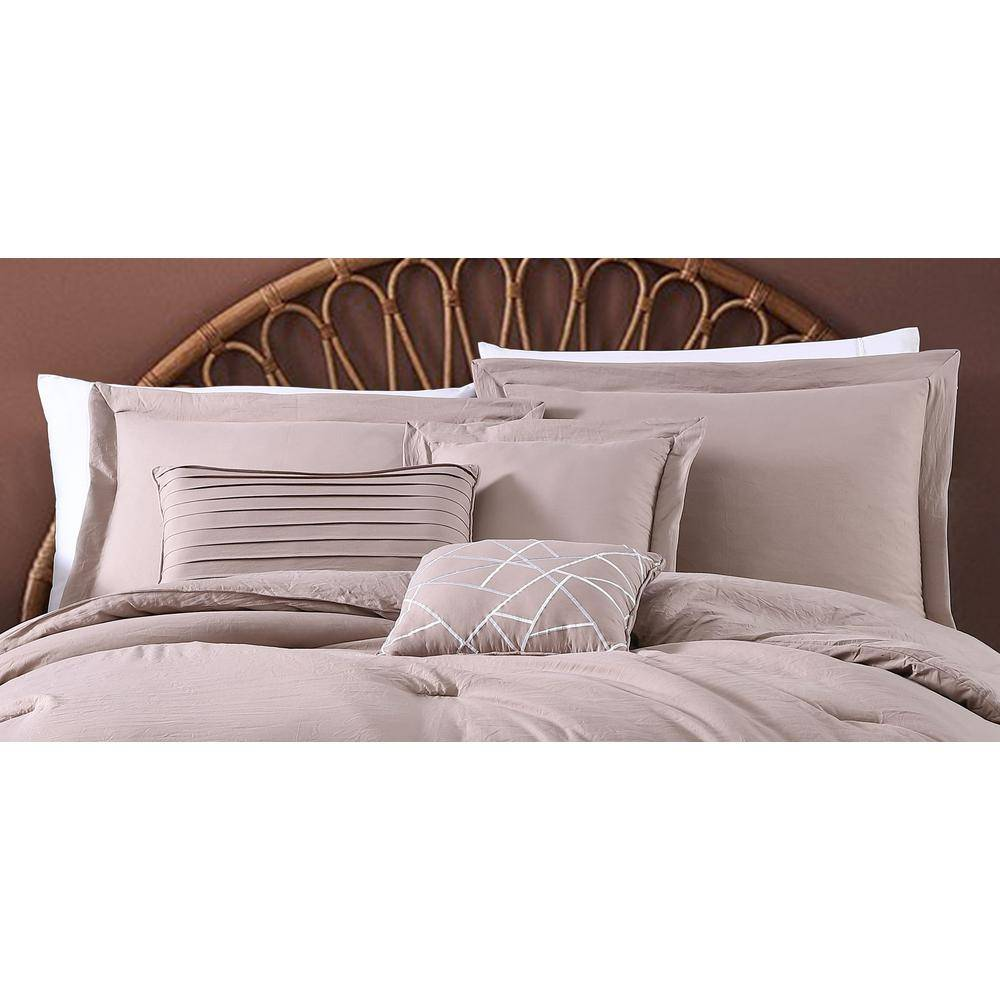 GENEVA HOME FASHION Robbie 6-Piece Taupe Solid Color Enzyme Washed Polyester Queen Size Comforter Set, Brown