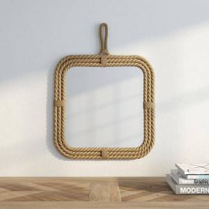 Stonebriar Collection Small Square Brown Novelty Mirror (17 in. H x 23 in. W)