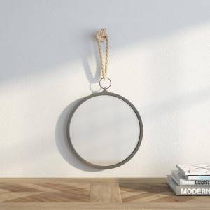Stonebriar Collection Small Round Grey American Colonial Mirror (13.780 in. H x 13 in. W)