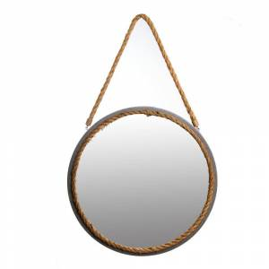Pinnacle Small Round Gray Beveled Glass Casual Mirror (16.5 in. H x 18 in. W)
