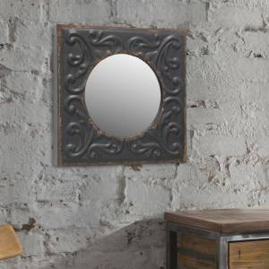 Stonebriar Collection Small Round Black Casual Mirror (11.811 in. H x 11.811 in. W)