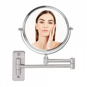 Ovente Small Round Wall Mounted Nickel Brushed Makeup Mirror (11 in. H x 1.4 in. W), 1x-10x Magnification