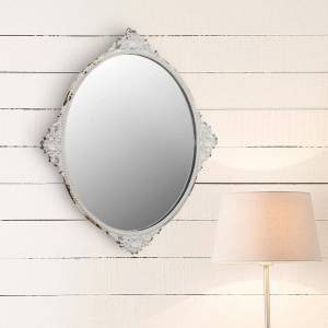 Stonebriar Collection Small Oval White Victorian Mirror (11.654 in. H x 10.039 in. W)