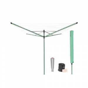 Brabantia 116 in. x 116 in. Outdoor Rotary Clothesline Lift-O-Matic with Ground Spike, Clothespin Bag, Cover and Clothespins, Fir Green
