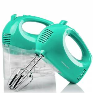 OVENTE 5-Speed Turquoise Portable Electric Hand Mixer with 2 Whisk Beater Attachments and Snap-on Storage Container