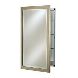 Afina Single Door 24 in. x 30 in. Recessed Basix Brushed Silver Medicine Cabinet