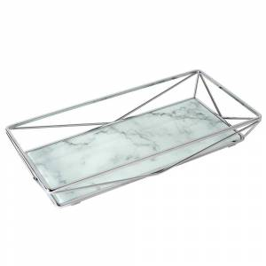 Home Details Marble Agate Design Geometric Vanity Tray in Chrome, Chrome with Marble Agate